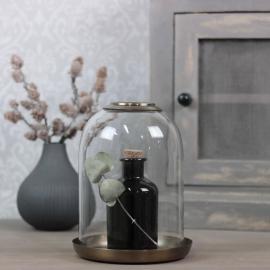 Glasklocka med mässingsfat H21 / Ø16 cm , hemmetshjarta.se