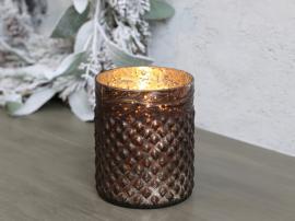 Värmeljushållare H11,5 / Ø9 cm antik mocka , hemmetshjarta.se
