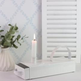 Ljushållare med låda - vit emalj , hemmetshjarta.se