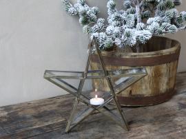 Vecka 44 Stjärna för värmeljus H27 / L28 / B6 cm antik mässing , hemmetshjarta.se