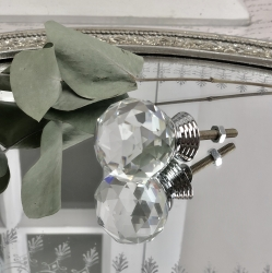 Knopp Diamant rund topp 6x3 cm - glas , www.hemmetshjarta.se