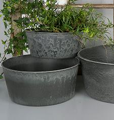 Hårdplast Grå Kruka/Blume 23x19x10cm , hemmetshjarta.se